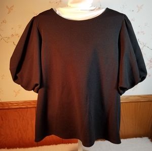 GREEN ENVELOPE CREPE BUBBLE SLEEVE TOP SZ L